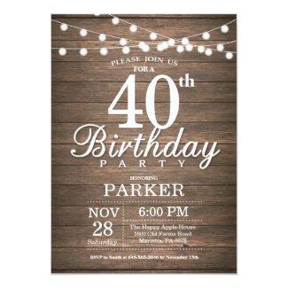Rustic 40th Birthday Invitation String Lights Wood