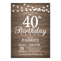 Birthday invitations announcements zazzle uk rustic 40th birthday invitation string lights wood filmwisefo Choice Image