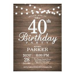 40th birthday invitations announcements zazzle uk rustic 40th birthday invitation string lights wood stopboris Image collections