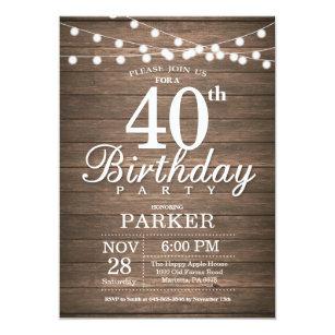 40th birthday invitations announcements zazzle rustic 40th birthday invitation string lights wood filmwisefo