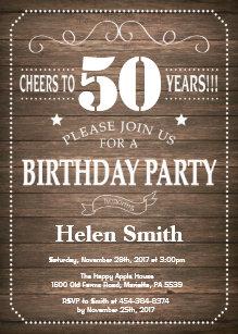 Vintage retro 50th birthday invitations announcements zazzle uk rustic 50th birthday invitation vintage retro filmwisefo