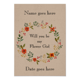 Rustic 5x7 Will you be my flower girl invitation