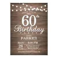 Rustic 60th Birthday Invitation