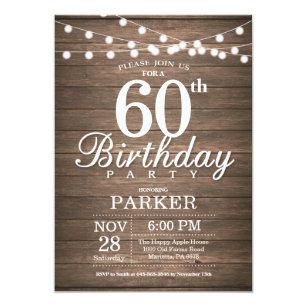 Male 60th birthday invitations announcements zazzle uk rustic 60th birthday invitation string lights wood filmwisefo