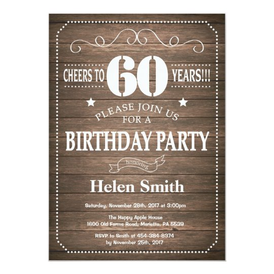 Rustic 60th Birthday Invitation Vintage Retro