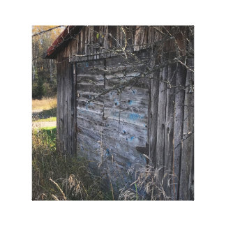 Rustic Abandoned Wood Shed on Canvas
