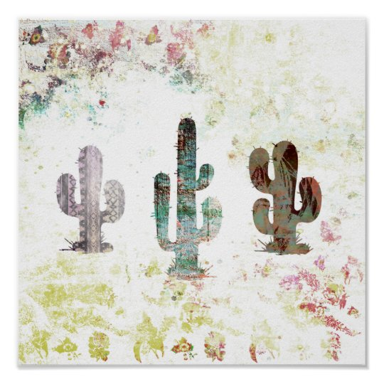 Rustic Abstract Pastel Grunge Cactus Poster