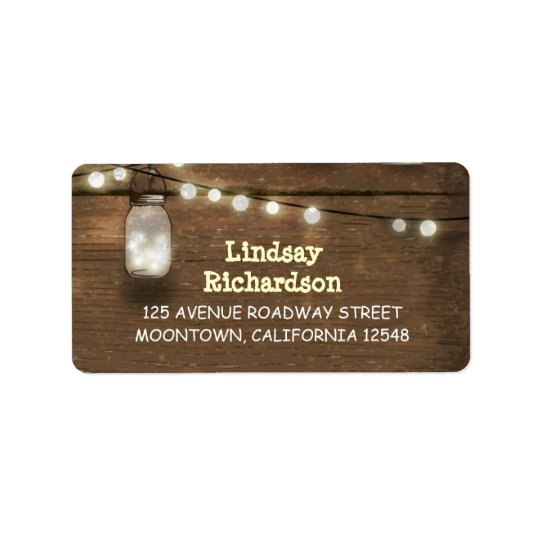 rustic address labels with string lights mason jar