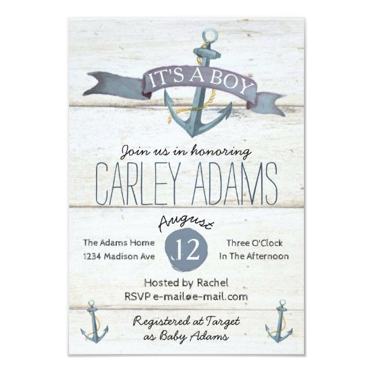 Rustic Adorned with Anchors | Baby Shower Invite