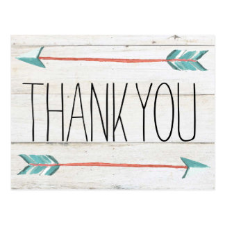 Rustic Adorned with Arrows   Thank You Postcard