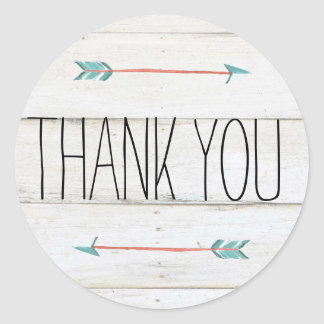 Rustic Adorned with Arrows   Thank You Sticker