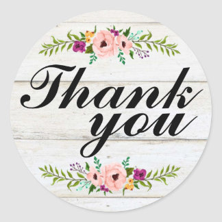 Rustic Adorned with Floral   Thank You Sticker