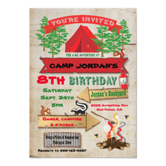 Rustic Adventure Camping Birthday Party Invitation