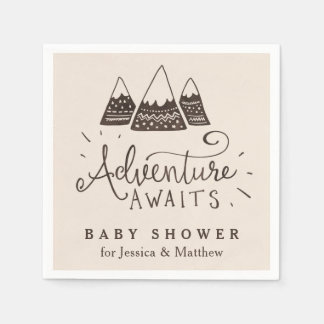 Rustic Adventure Themed Baby Shower Napkins Disposable Napkins