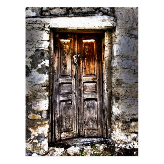 Rustic Ages Country Cottage Wooden Doorway Postcard