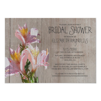 Rustic Alstroemeria Bridal Shower Invitations