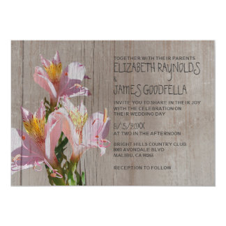 Rustic Alstroemeria Wedding Invitations