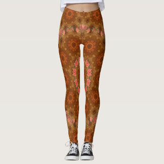 Rustic Amber Flower Garden. Leggings