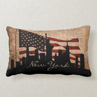 Rustic America Flag New York Skyline | Landmark Lumbar Cushion