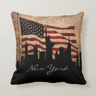 Rustic America Flag New York Skyline | Landmark Throw Pillow