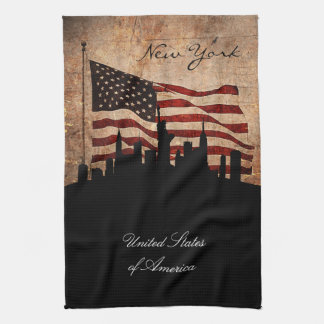 Rustic American Flag new York Skyline Kitchen Towels