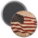 Rustic American Flag - Patriotic Print 7.5 Cm Round Magnet