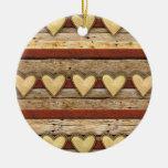Rustic Americana Hearts Christmas Ornaments