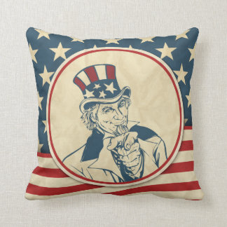 Rustic Americana Uncle Sam Patriotic Cushion