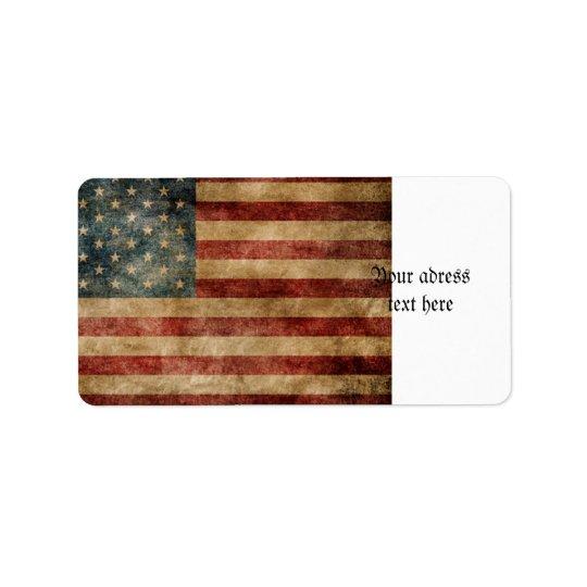 rustic americana,usa flag,grunge,vintage,tradition address label