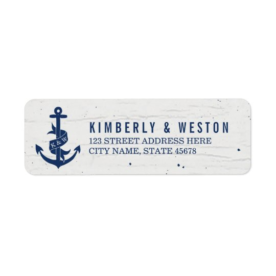 Rustic Anchor Monogram Return Address Labels