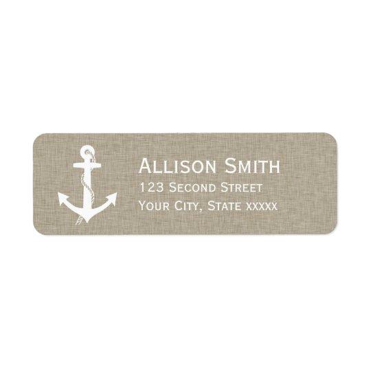 Rustic Anchor Nautical Tan Return Address Labels