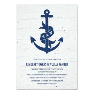 Rustic Anchor Wedding Invitation / Navy