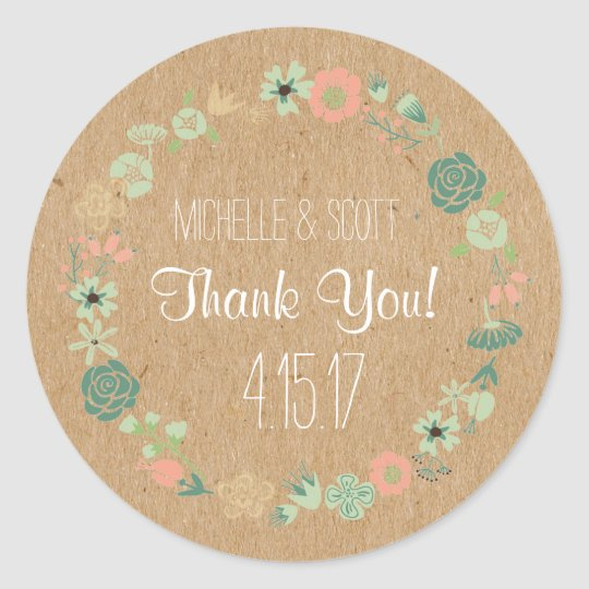 Rustic and Floral Stickers, Wedding Favour Classic Round