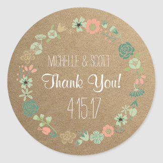 Rustic and Floral Stickers, Wedding Favour Round Sticker