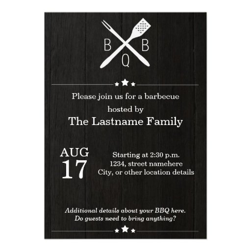 Rustic and Modern BBQ Invitations