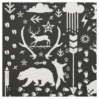 Rustic Animal Track Bear Deer Fox Woodland Pattern Fabric