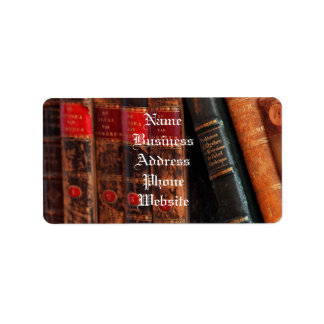 Rustic Antique Library Books Shelf Address Label