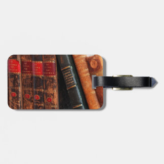 Rustic Antique Library Books Shelf Luggage Tag