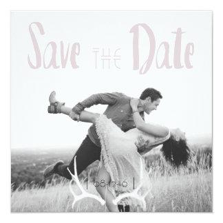 Rustic Antler Art Graphic Square Save the Date 13 Cm X 13 Cm Square Invitation Card
