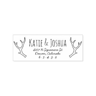 Rustic Antler Custom Return Address Stamp