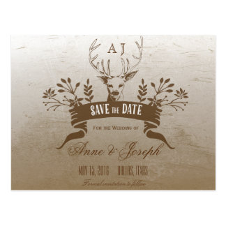 Rustic Antler Save the Date Postcard