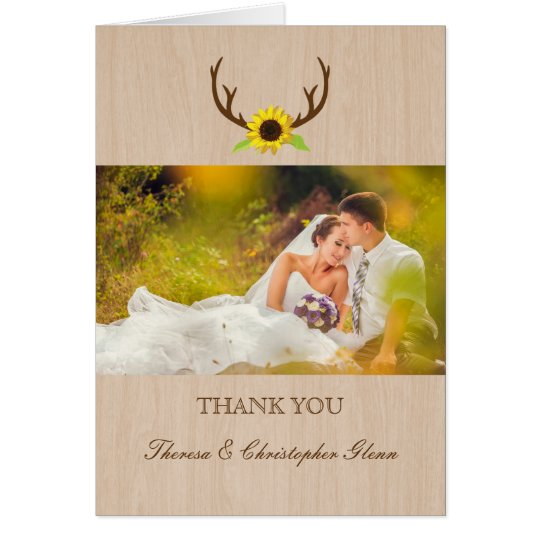 Rustic Antlers and Sunflowers Wedding Thank You Card