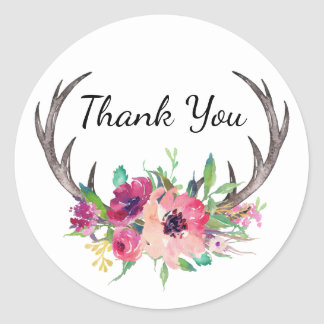 Rustic Antlers Boho Floral Allure Round Sticker