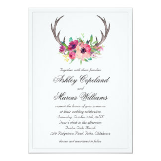 Rustic Antlers Boho Floral Allure Wedding Card