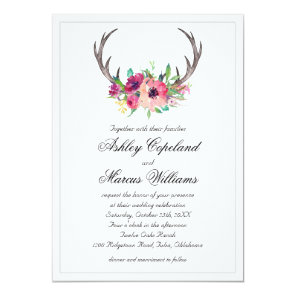 Rustic Antlers Boho Floral Allure Wedding Invitation