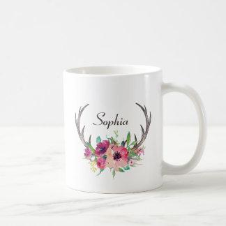 Rustic Antlers Boho Floral with Monogram Coffee Mug