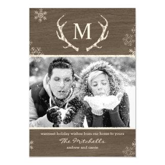 Rustic Antlers Custom Holiday Magnetic Card