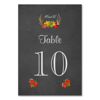 Rustic Antlers Fall Boho Wedding Table Number Table Card