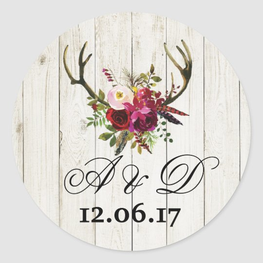 Rustic Antlers Wood Floral Wedding Stickers Label