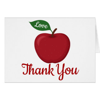 Rustic Apple Thank You Red Burgundy Wedding Party Card